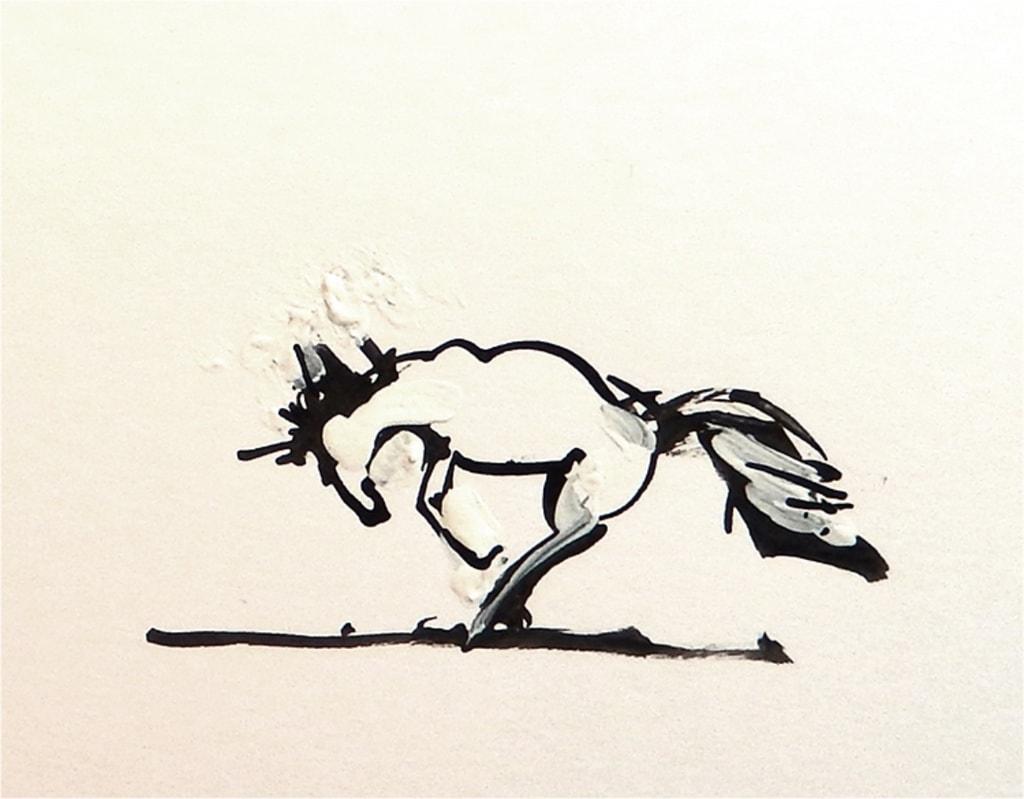 Bokkend paard 2 2017 inkt