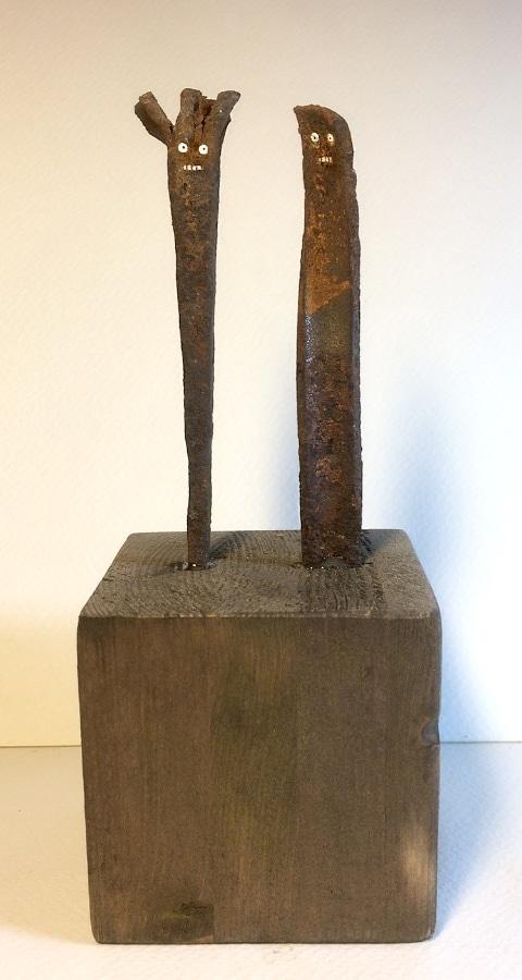 Eerste Ontmoeting 2019 6x65x16 cm restmateriaal gesso en stift