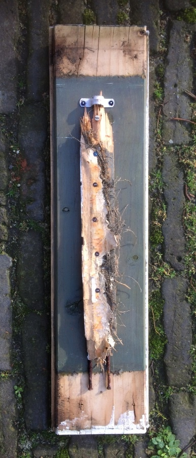 Jas 2020 57x14 cm hout metaal gesso inkt
