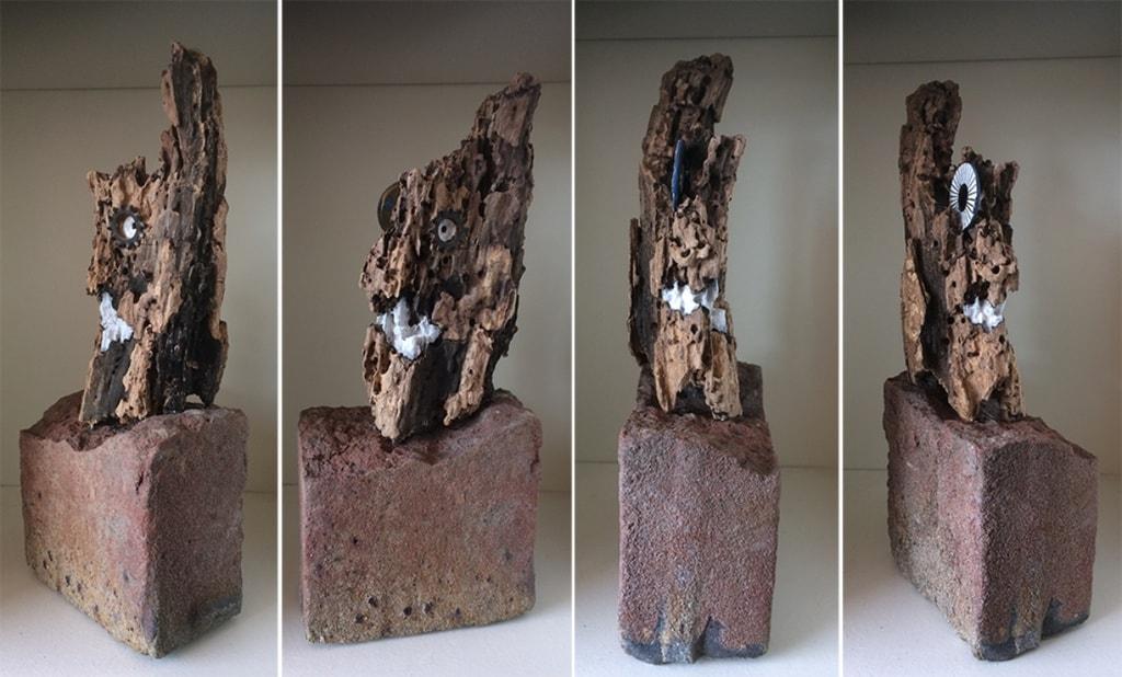 KurkKop 2018 metaal gesso en inkt op gevonden hout