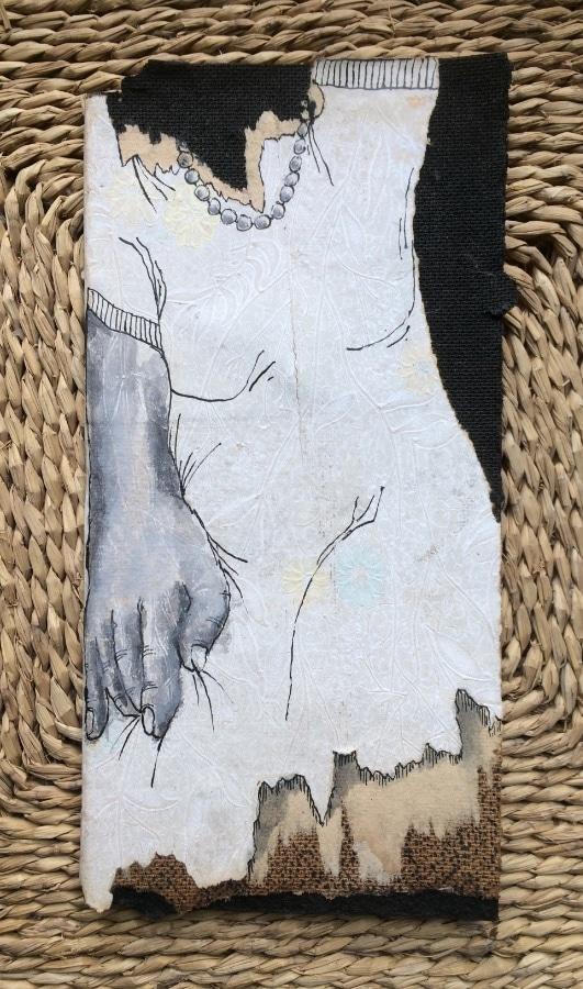ParelTeefje 2019 13x26 cm oud hardboard met behang inkt gesso