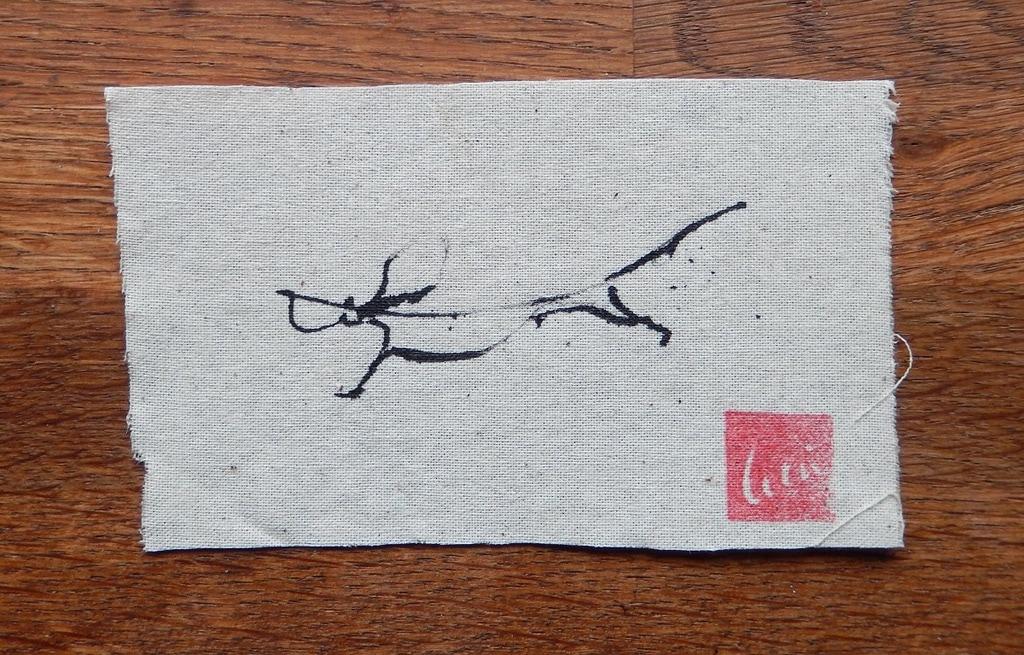 Tekkel op doek III 2017 inkt op kaasdoek