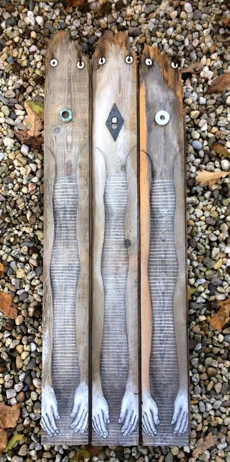 Trilo 2019 29x83 cm kraaldelen inkt en gesso
