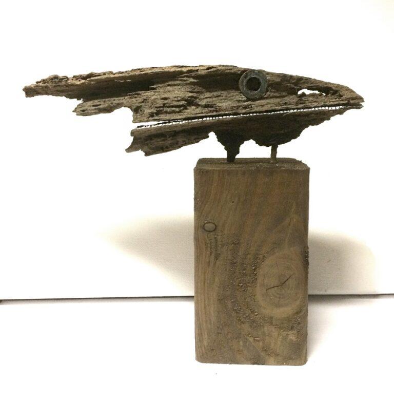 VisKop 2020 22x18x7 cm oud hout gesso en inkt