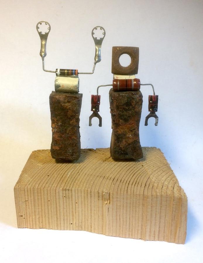 de Condensator en Condensatrice 2020 10x12x7 cm oud ijzer en stroomspul